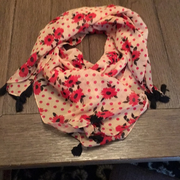 unknown Accessories - Large square pink and red polka dot flower scarf